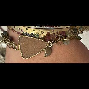 14K Gold Pink Druzy Watermelon Tourmaline Bracelet
